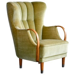 Danish Midcentury Viggo Boesen Highback Lounge Chair with Open Armrests