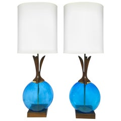 Danish Midcentury Walnut and Blue Glass Lamps, a Pair