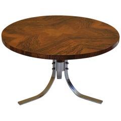 Danish Midcentury Walnut and Chrome Coffee Table