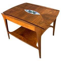 Danish Midcentury Walnut Sculpted Side Table with Enameled Insert of Birds