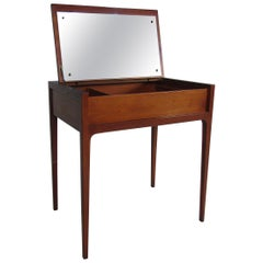 Danish Midcentury Walnut Vanity with Mirror