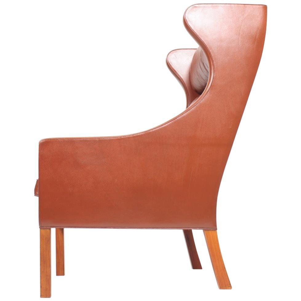 Danish Midcentury Wing Back Chair in Patinated Leather by Børge Mogensen