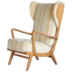 Danish Midcentury Wingback Lounge Chair with Exposed Sides