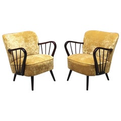 Danish Midcentury Wood Structure and Mustard-Colored Velvet Armchairs, 1960s