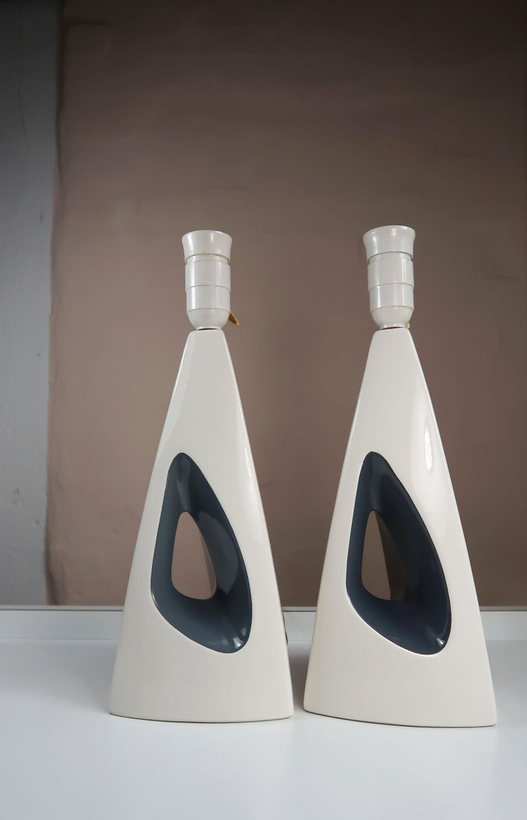 Danish Minimalist White, Anthracite Porcelain Table Lamps by Søholm, 1960s For Sale 4