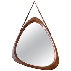 Danish Mirror with Leather Strap, circa 1960
