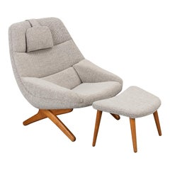 Danish ML-91 Reupholstered Lounge Chair with Ottoman by Illum Wikkelsø, 1960s