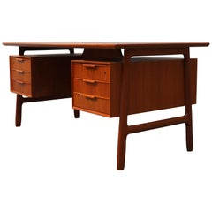 Danish Model 75 Executive Desk in Teak by Gunni Omann for Omann Jun 1950 Brown