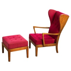 Danish Modern 1950s Highback Lounge Wing Chair and Ottoman by Fritz Hansen