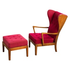Danish Modern 1950s Highback Lounge Wing Chair and Ottoman