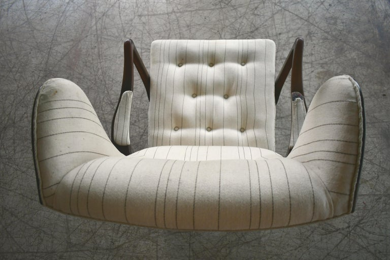 Danish Modern 1950s Highback Lounge Wing Chair Attributed to Fritz Hansen For Sale 5