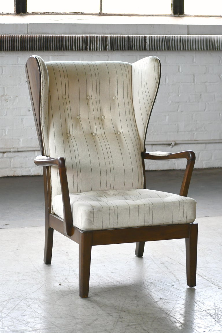 Danish Modern 1950s Highback Lounge Wing Chair Attributed to Fritz Hansen For Sale 8