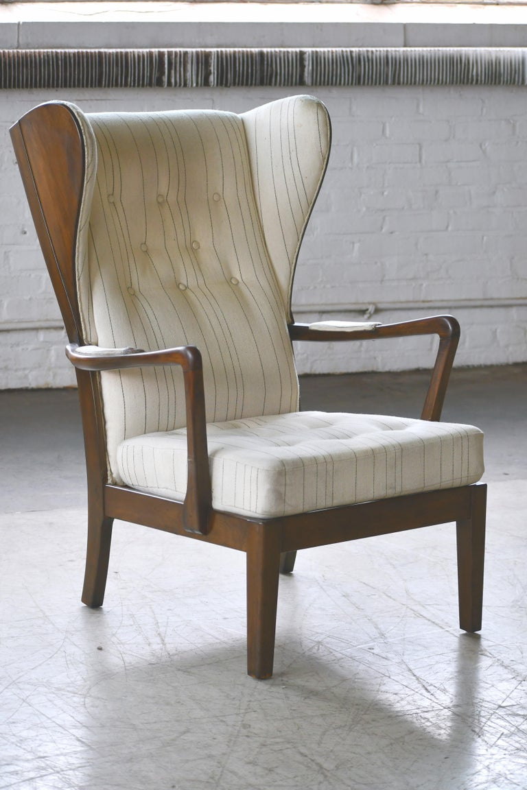 Mid-Century Modern Danish Modern 1950s Highback Lounge Wing Chair Attributed to Fritz Hansen For Sale