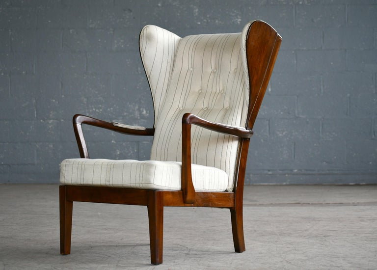 Danish Modern 1950s Highback Lounge Wing Chair Attributed to Fritz Hansen For Sale 1