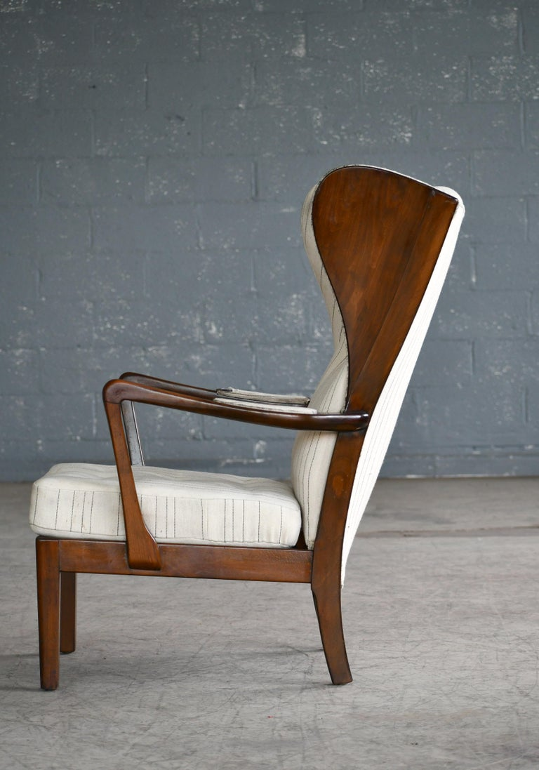 Danish Modern 1950s Highback Lounge Wing Chair Attributed to Fritz Hansen For Sale 2