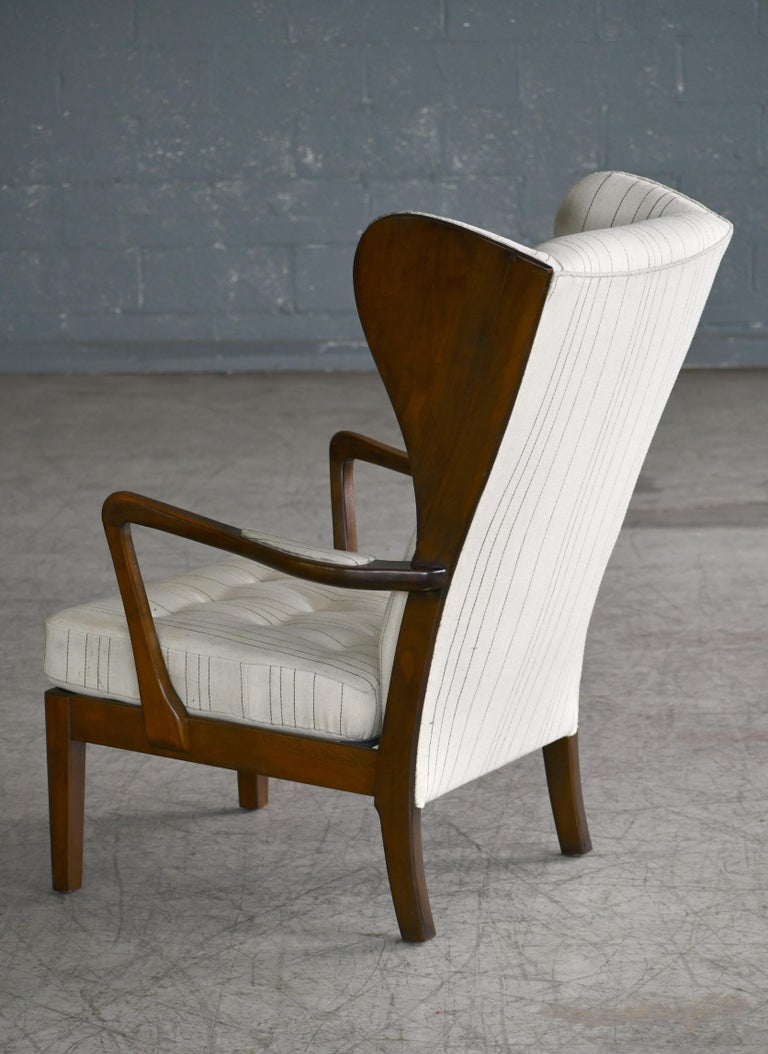 Danish Modern 1950s Highback Lounge Wing Chair Attributed to Fritz Hansen For Sale 3