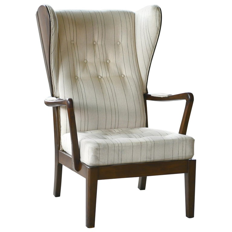 Danish Modern 1950s Highback Lounge Wing Chair Attributed to Fritz Hansen For Sale