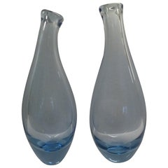 Danish Modern 2-Light Blue Beak Vases by Per Lutken for Holmegaard, Denmark 1960
