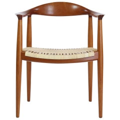 "Danish Modern Armchair by Hans J. Wegner ""JH-501"" in Mahogany and Rattan Cane"