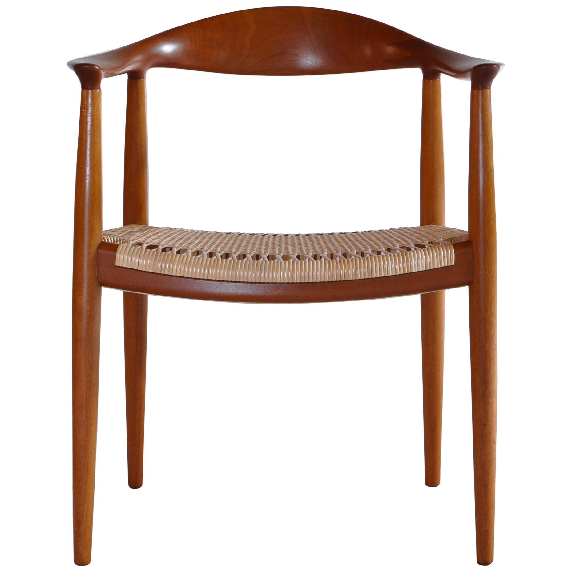 "Danish Modern Armchair by Hans J. Wegner ""JH-501"" with Rattan Cane Seat."