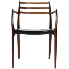 Danish Modern Armchair in Rosewood and Black Leather Model 62 by Niels O. Moller
