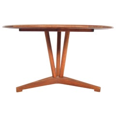 Danish Modern Atomic Round Midcentury Teak Coffee Table