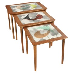 Danish Modern Atomic Teak and Tile Nesting Tables