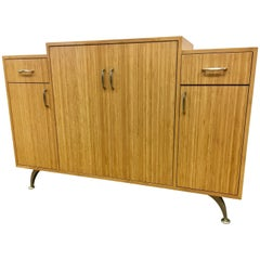 Danish Modern Bamboo Custom Server Bar Credenza Cabinet Sideboard Buffet