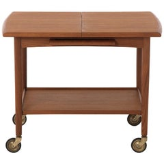 Danish Modern Bar Cart with Expandable Top