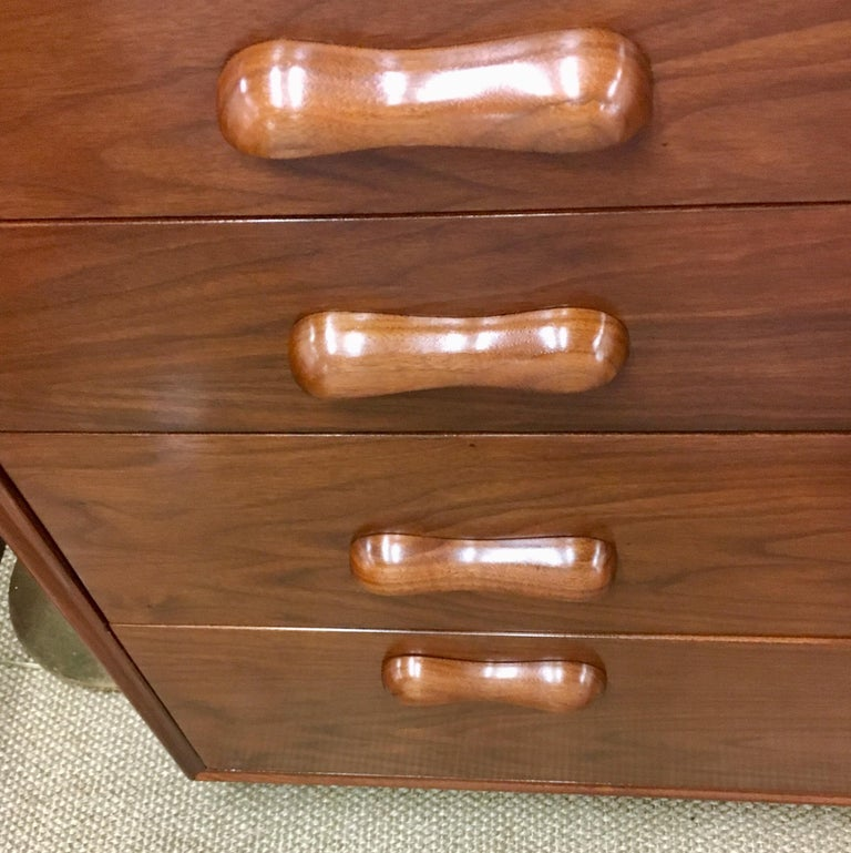 Wood Danish Modern Bedroom Dresser Chest of Drawers For Sale