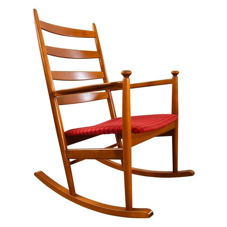 Danish Modern Beechwood Rocking Chair by Niels Eilersen For Sale