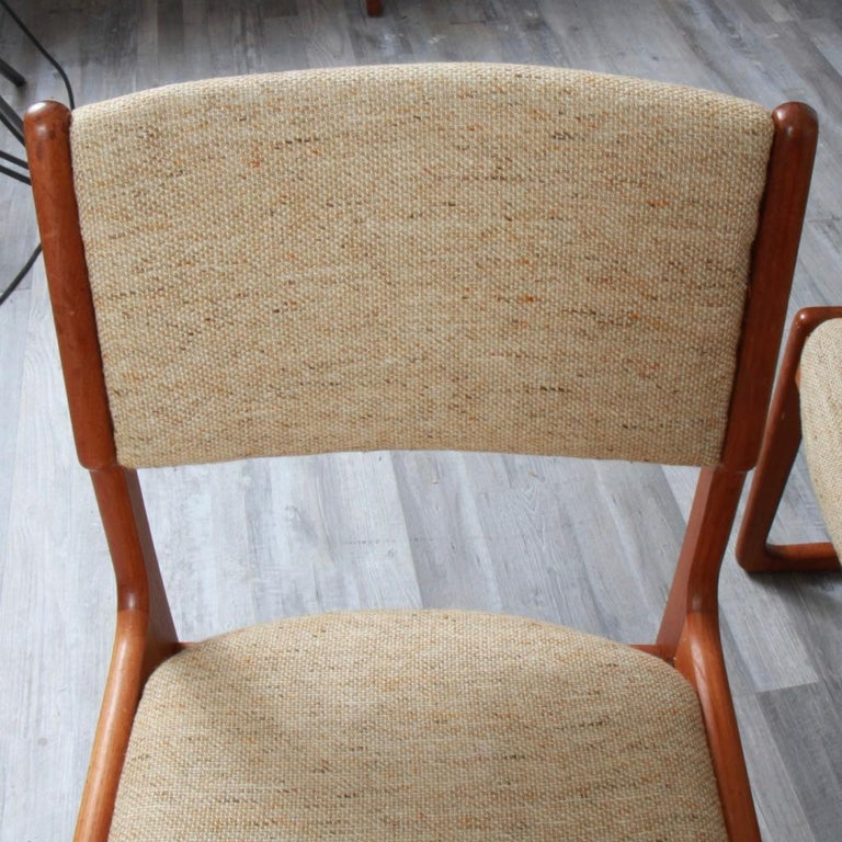 Fabric Danish Modern Benny Linden Teak Dining Chairs For Sale