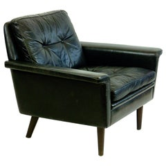 Danish Modern Black Leather and Rosewood Lounge Chair attr. Hans Olsen
