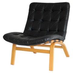 Danish Modern Black Leather Lounge Chair