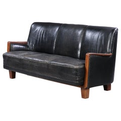 Danish Modern Black Leather Sofa
