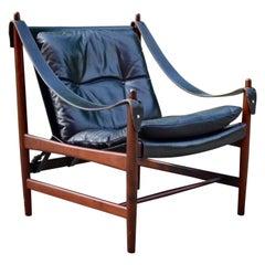 Danish Modern Black Saddle Leather Hunting Safari Chair