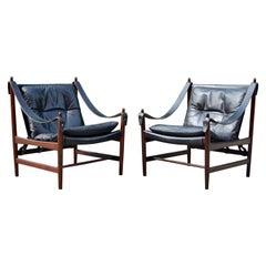 Danish Modern Black Saddle Leather Hunting Safari Chair, Set of 2