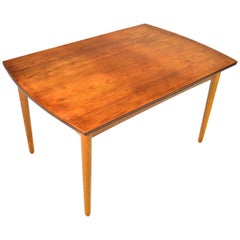Danish Modern Bow Edge Draw Leaf Dining Table in Teak and Oak