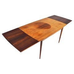 Danish Modern Bow Edge Draw Leaf Midcentury Dining Table in Rosewood