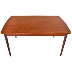 Danish Modern Bow Edge Draw Leaf Teak Dining Table #2