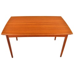 Danish Modern Bow Edge Draw Leaf Teak Dining Table