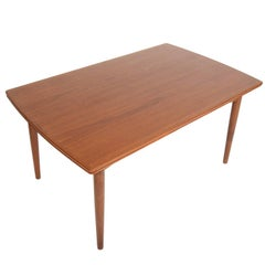 Danish Modern Bow Edge Teak Draw Leaf Dining Table