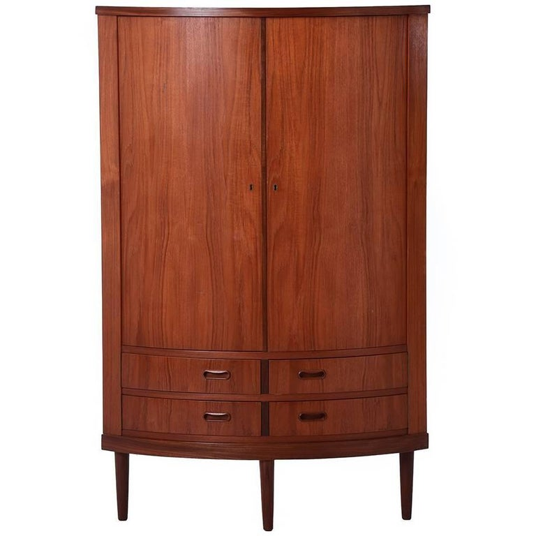 Danish Modern Bow Front Corner Cabinet For Sale