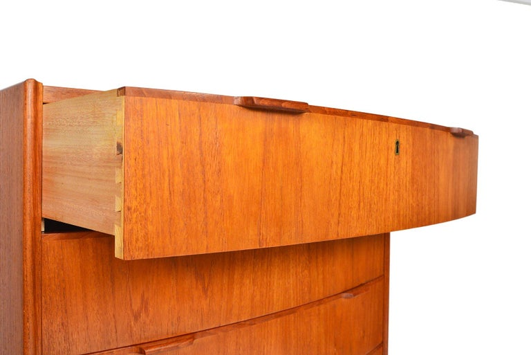 20th Century Danish Modern Bow Front Teak Highboy Dresser