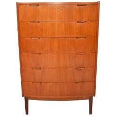 Danish Modern Bow Front Teak Highboy Dresser