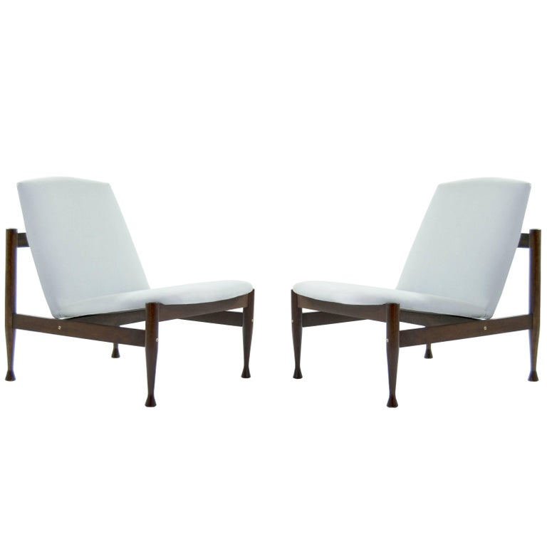Danish Modern Brass Accented Lounge Chairs in the Style of Finn Juhl