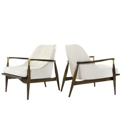 Danish Modern Brass-Accented Walnut Lounge Chairs