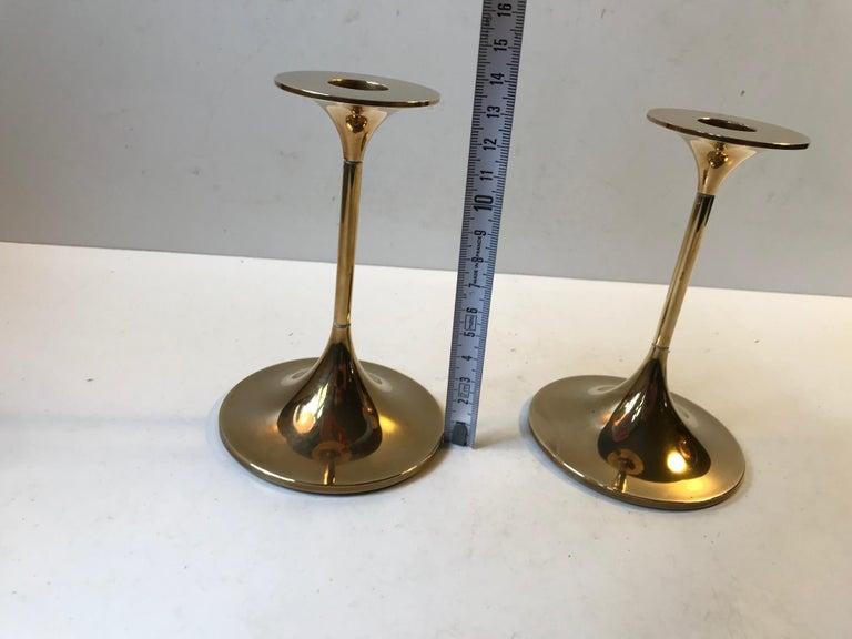 Danish Modern Brass Candlesticks 'Hi-Fi' by Max Brüel for Torben Orskov, 1960s For Sale 4