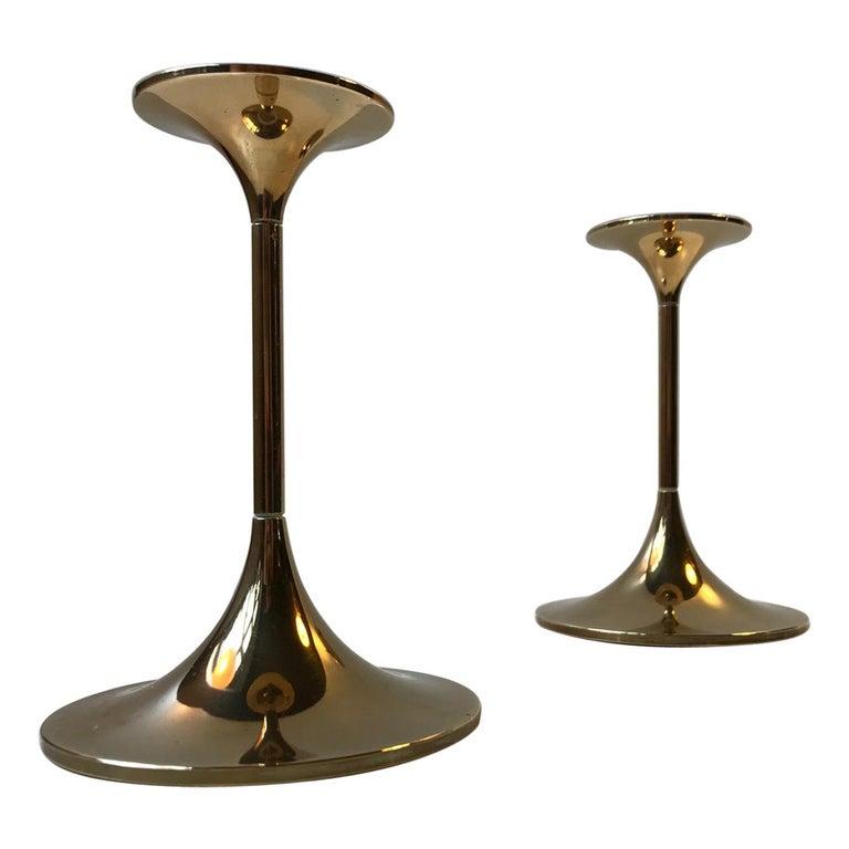 Danish Modern Brass Candlesticks 'Hi-Fi' by Max Brüel for Torben Orskov, 1960s For Sale