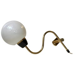 Danish Modern Brass Swing Arm Wall Light with Opaline Sphere, 1960s
